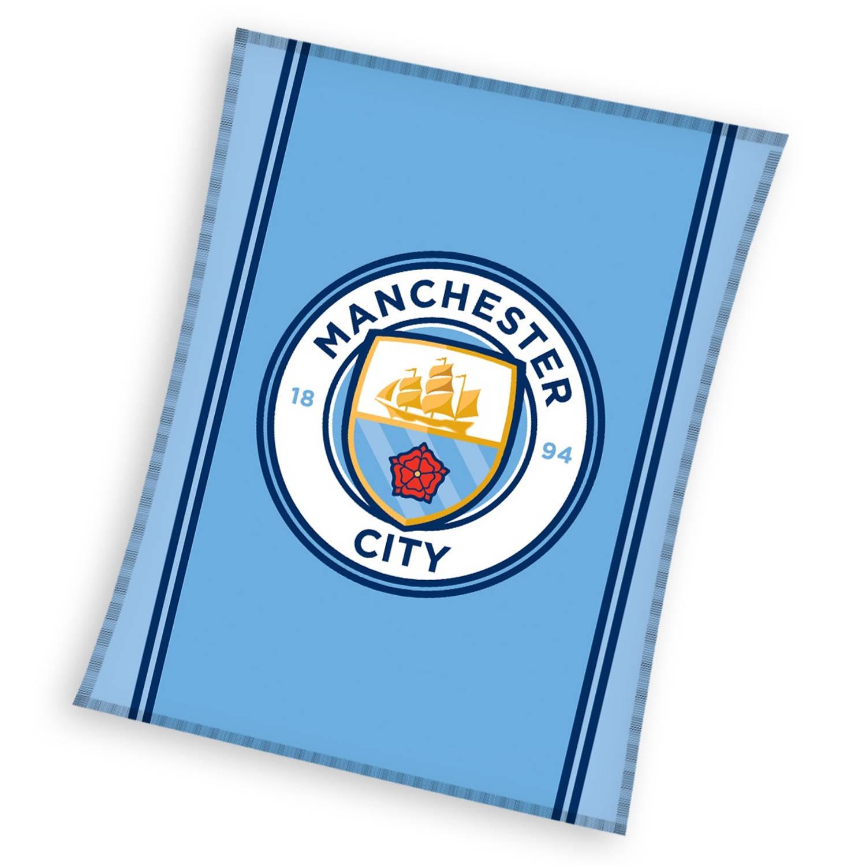 Manchester City fleece-deken 110 x 140 cm blauw