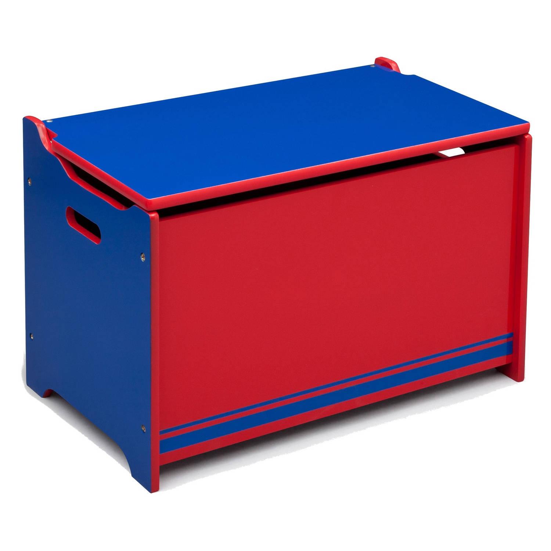 Delta Kids opbergkist hout rood/blauw 40 x 34 x 62 cm