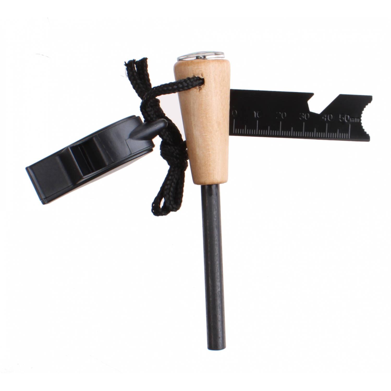 MacGyver firestarter met kompas en fluit 12,5 cm zwart