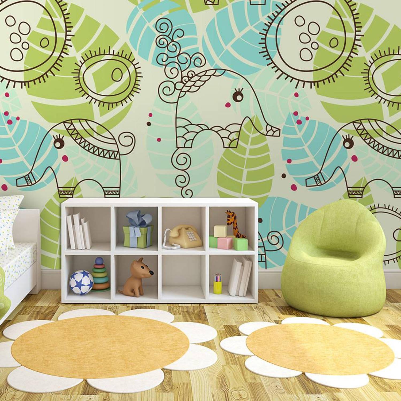 Fotobehang - Olifanten patroon - 350x270