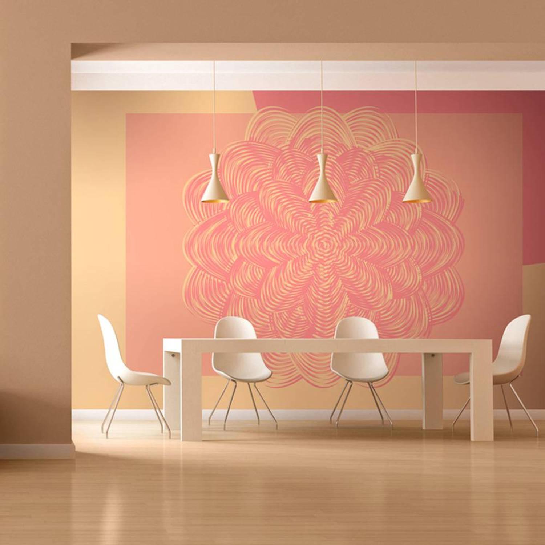 Fotobehang - Roze ornament - 350x270