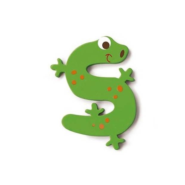 Scratch letter S hagedis groen 5.5 cm