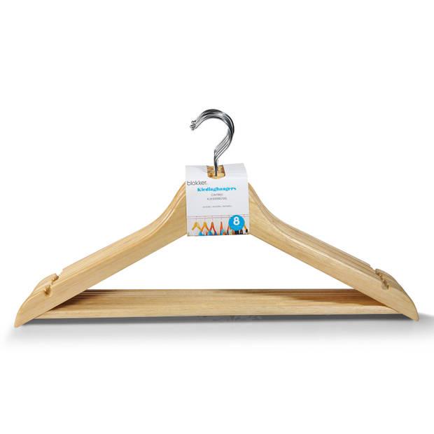 Blokker kledinghangers - hout - naturel - set van 8