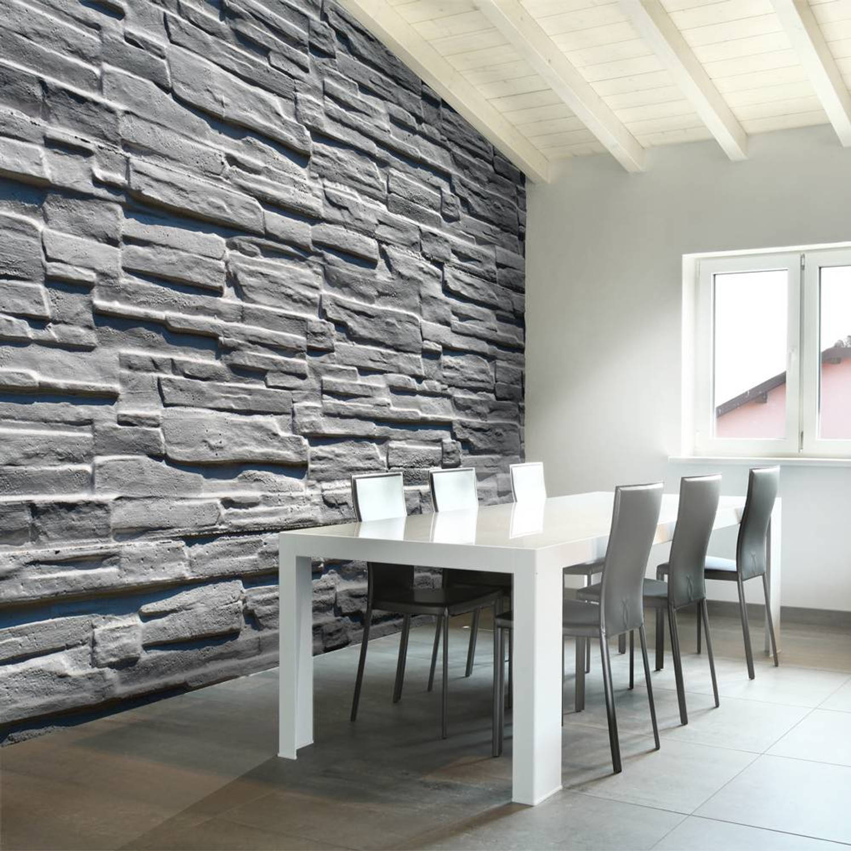 Fotobehang - Grijze stenen muur - 350x270
