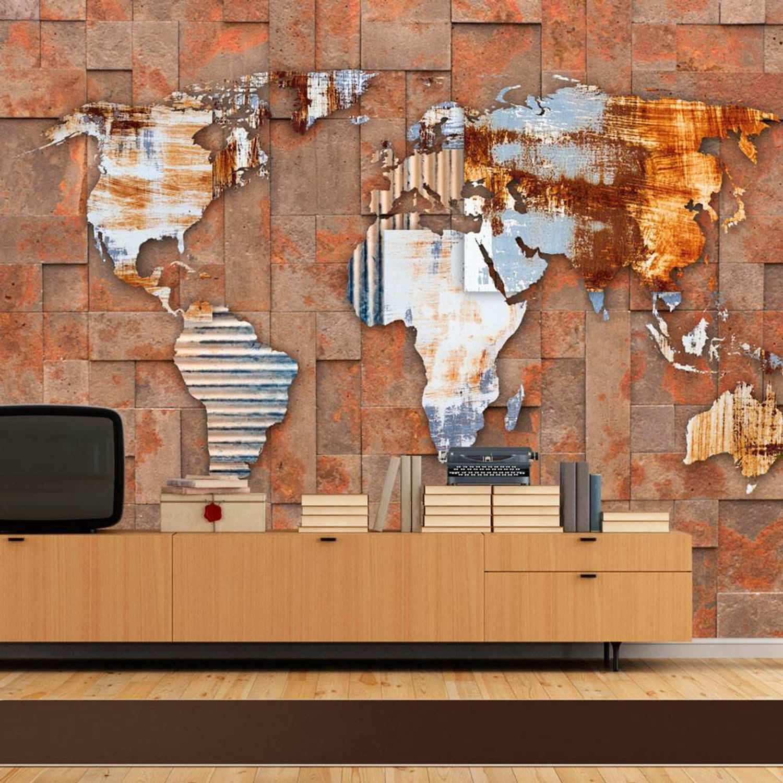 Fotobehang - Moderne wereldkaart - 200x140