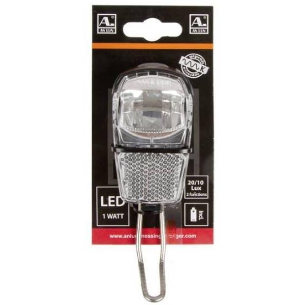 Anlun koplamp 20/10 lux batterij led blister zwart