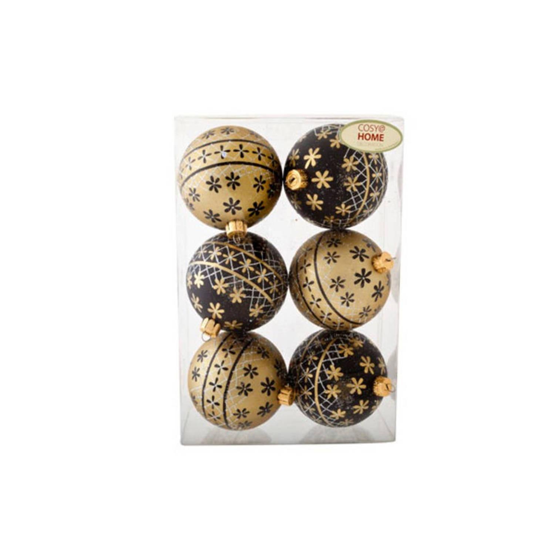 Kerstbal set assorti Ø 7 cm Goud-Zwart (6 stuks)