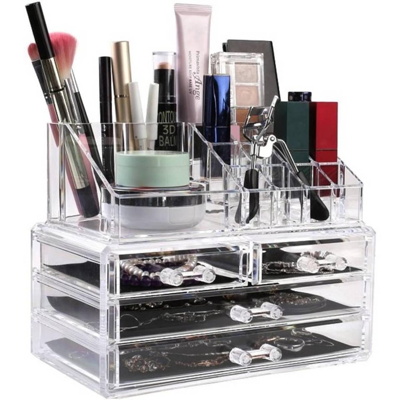 Transparante Make-up organizer - 20 compartimenten - Transparant
