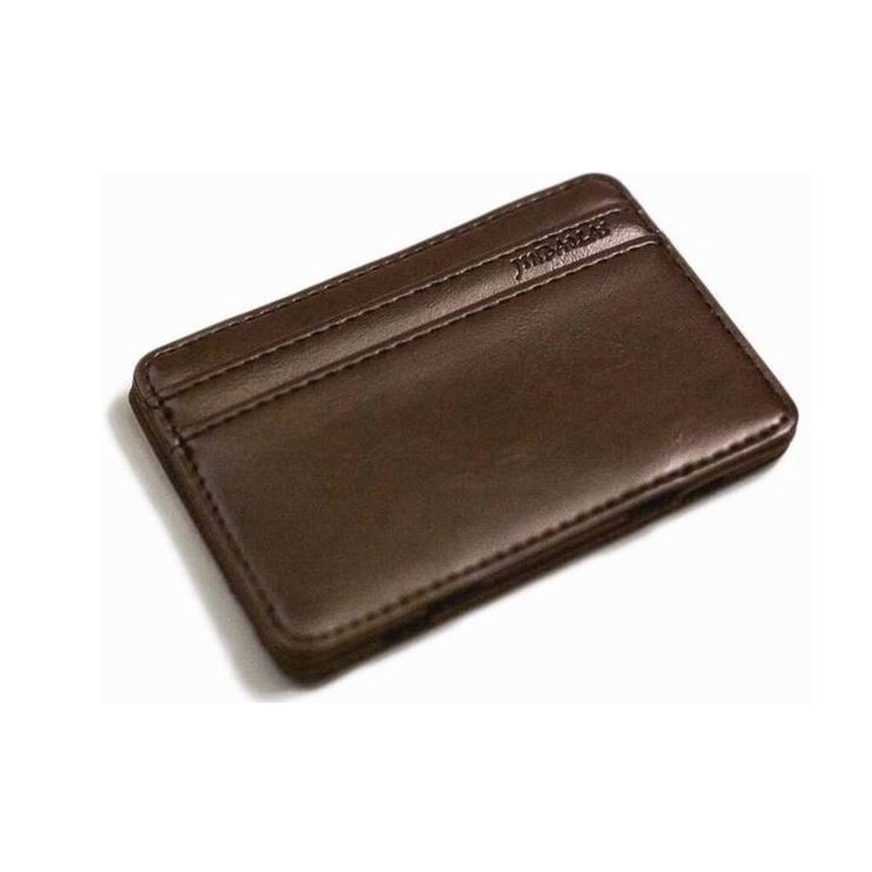 Magic Wallet Creditcard Houder PU-Leder Donkerbruin