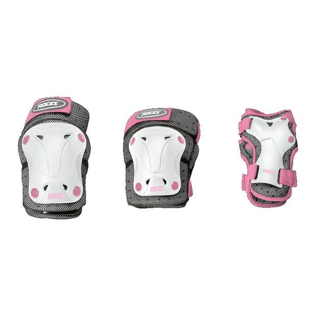 Roces beschermset 3-delig meisjes wit/grijs/roze maat M