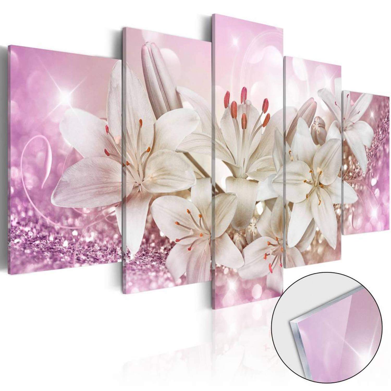 Afbeelding op acrylglas Roze buiging, Roze Wit, 2 Maten, 5luik
