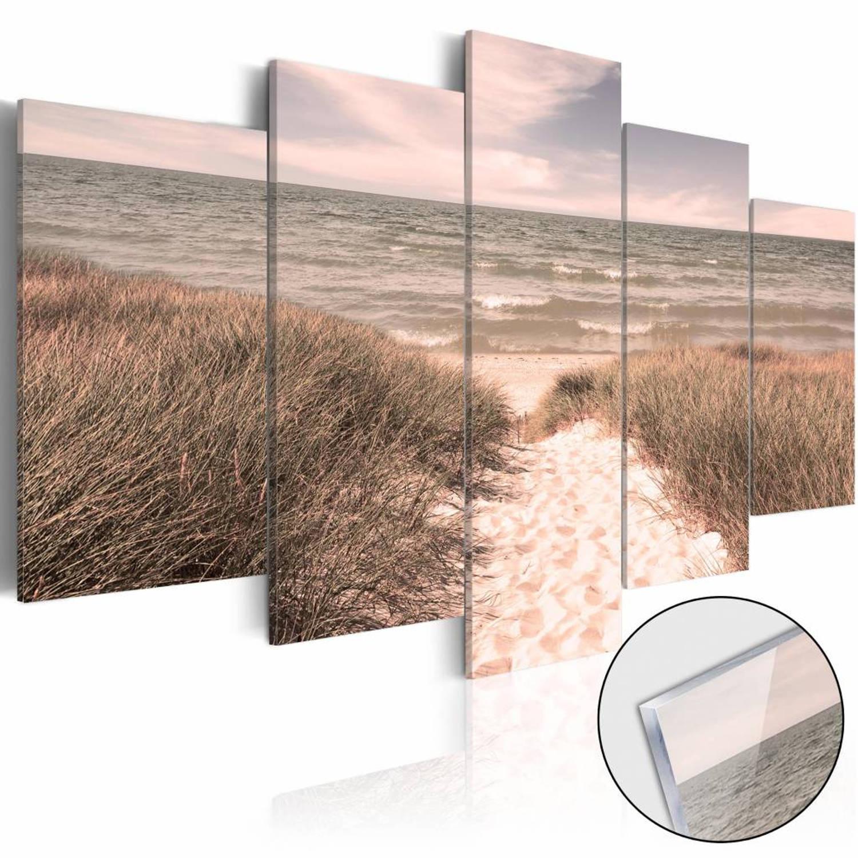 Afbeelding van Afbeelding op acrylglas - Noordzee in haar pracht, Roze gloed, 2 Maten, 5luik