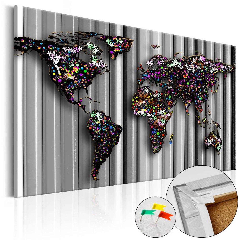 Afbeelding op kurk - Graphite World , wereldkaart - 60x40