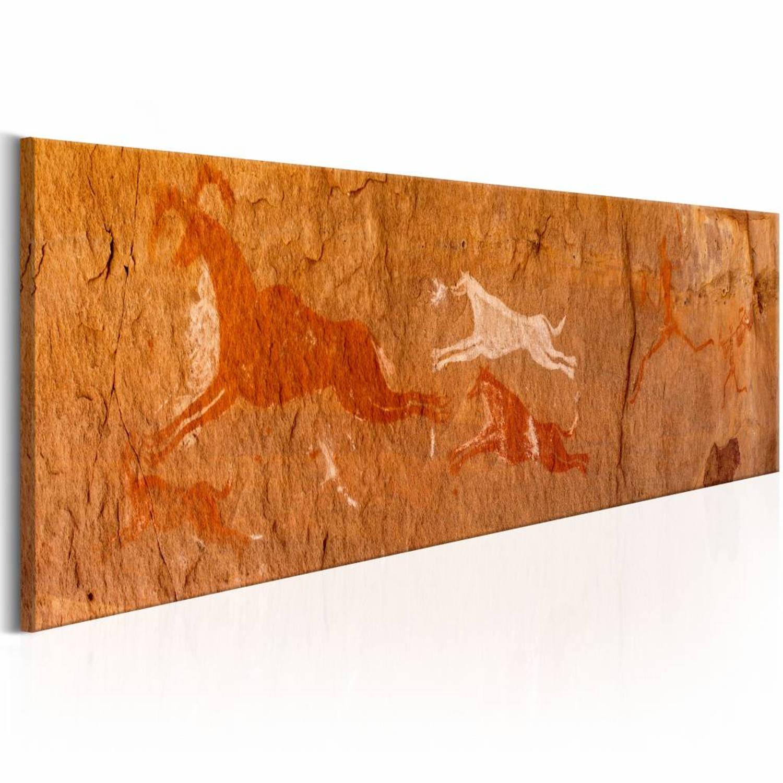 Schilderij Rots tekeningen, bruin , 1deel, in 2 maten