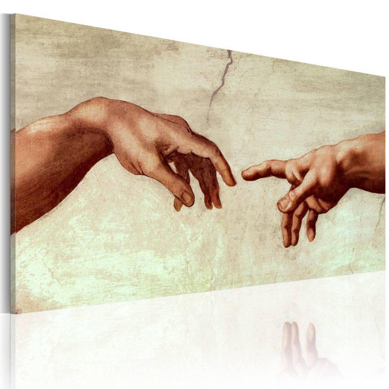 Handgeschilderd schilderij - De schepping van Adam: fragment van het schilderen 120x60cm