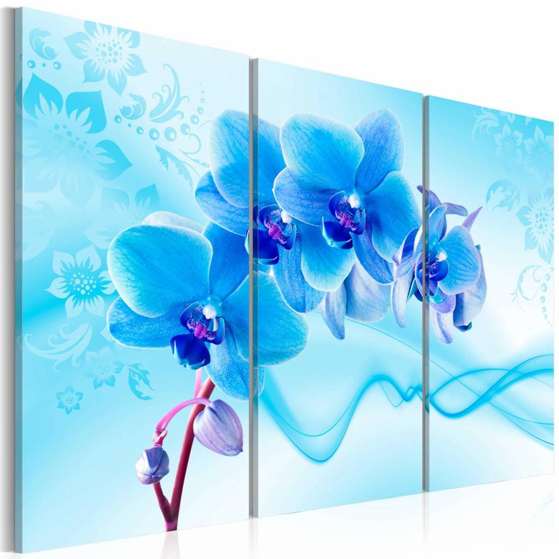 Schilderij - Etherische Orchidee , blauw , 3 luik , 2 maten - 120x80