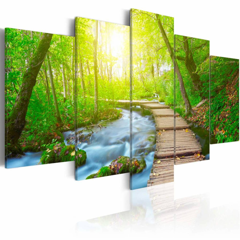 Schilderij Pad door het bos, groen/blauw/bruin, 5luik, 2 maten