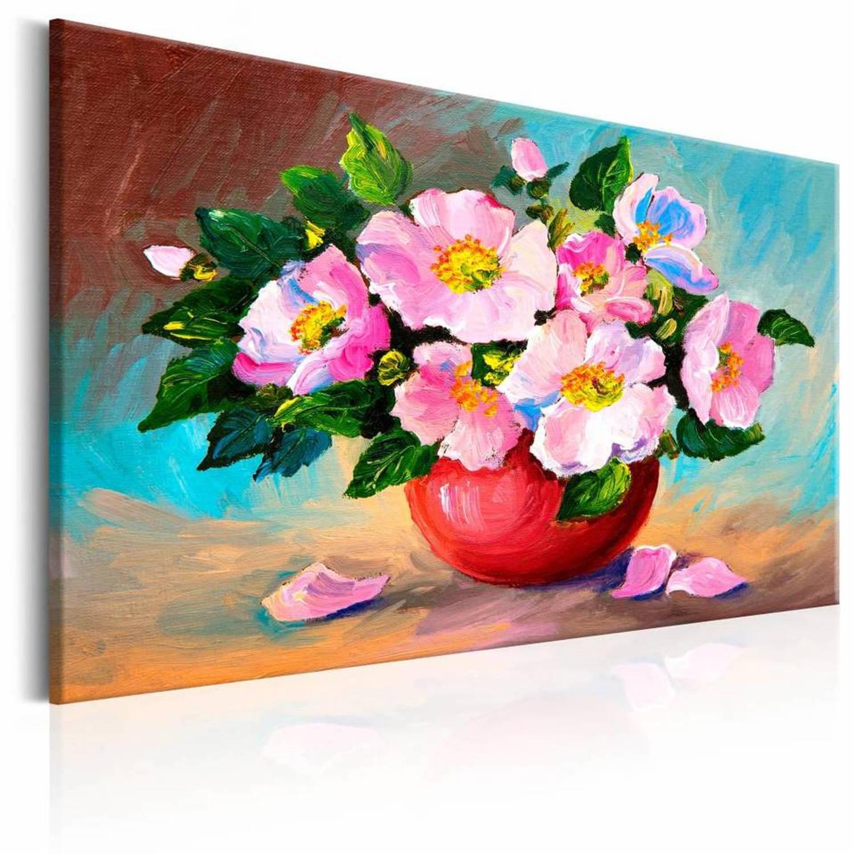 Handgeschilderd schilderij - Boeket in het roze, stilleven