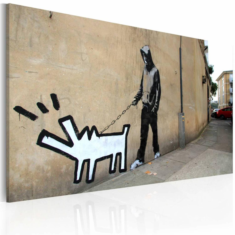 Schilderij - Blaffende hond (Banksy) 40x60cm, 1 deel