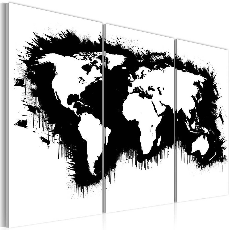 Schilderij - Monochromatisch kaart van de Wereld, Zwart-Wit, 2 Maten, 3luik