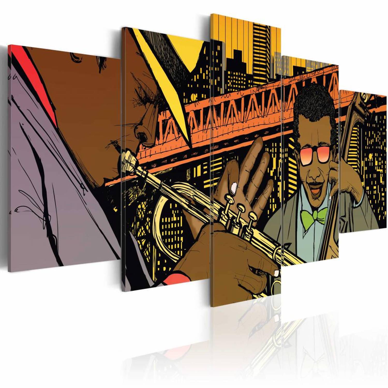 Schilderij - Jazz in comic - 100x50