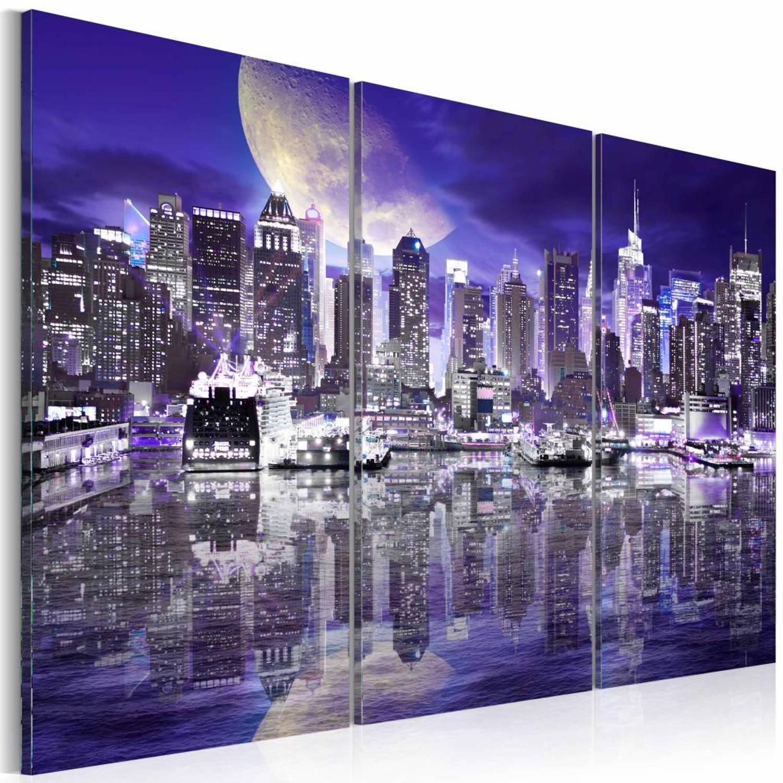 Schilderij - Skyscrapers at night - 120x80