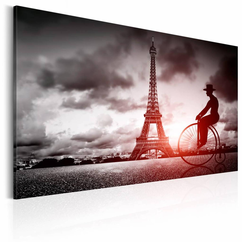 Image of Schilderij - Magisch Parijs, Zwart-Wit/Rood, 2 Maten, 1luik
