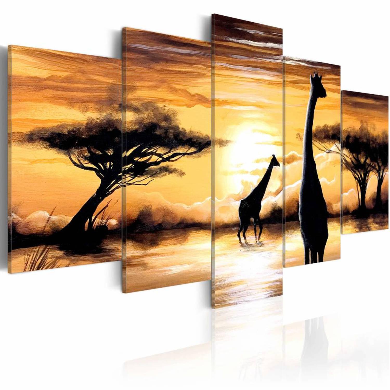 Image of Schilderij - Mooi Afrika, Giraffe, Geel, 2 Maten, 5luik