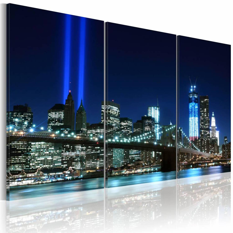 Schilderij Blue lights in New York 60x40