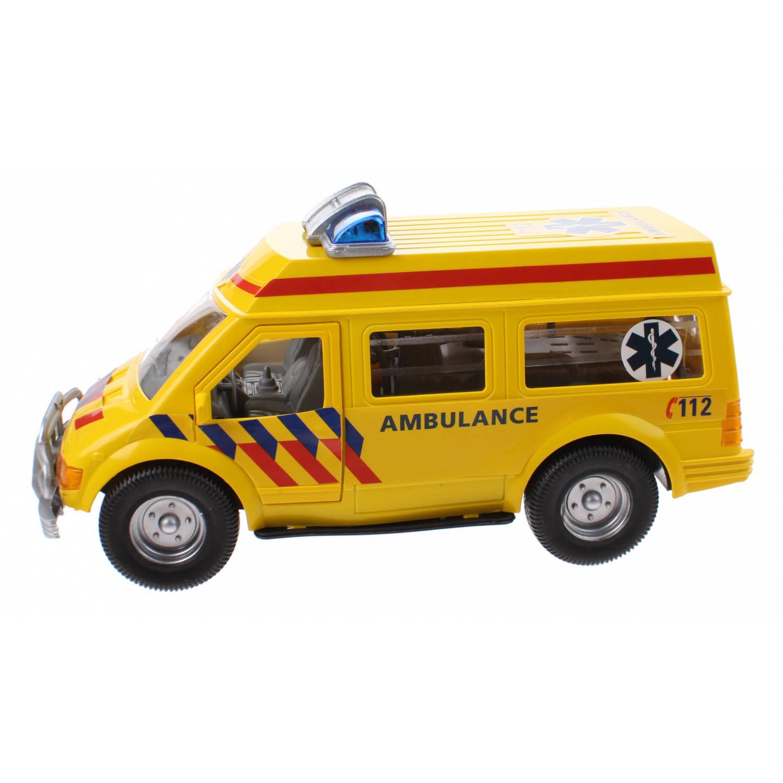 Kids Fun reddingsdienstvoertuig Ambulance 26 cm geel