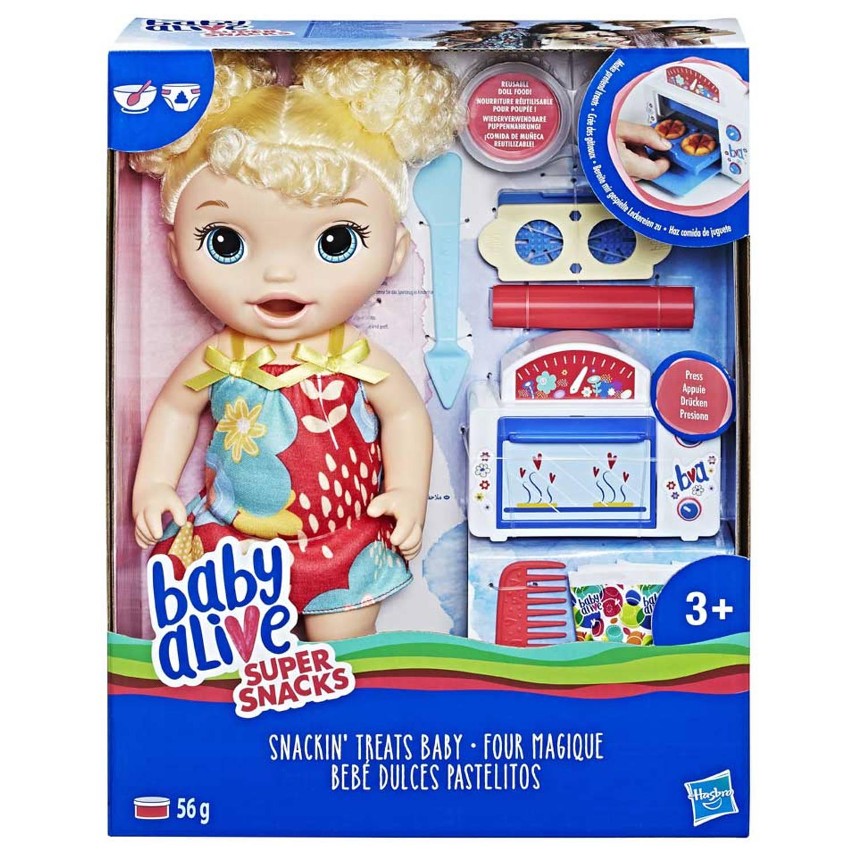 Baby Alive snack en snoep babypop - blond krullend haar