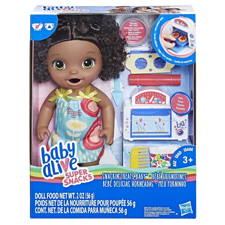 Baby Alive snack en snoep babypop - zwart krullend haar