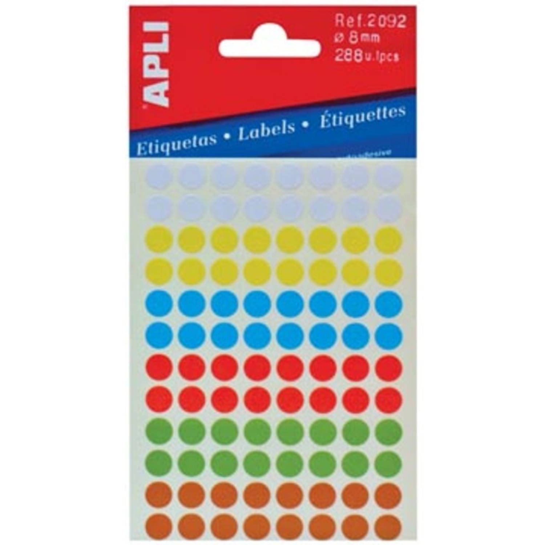 Korting Apli Ronde Etiketten In Etui Diameter 8 Mm, Geassorteerde Kleuren, 288 Stuks, 96 Per Blad (2092)