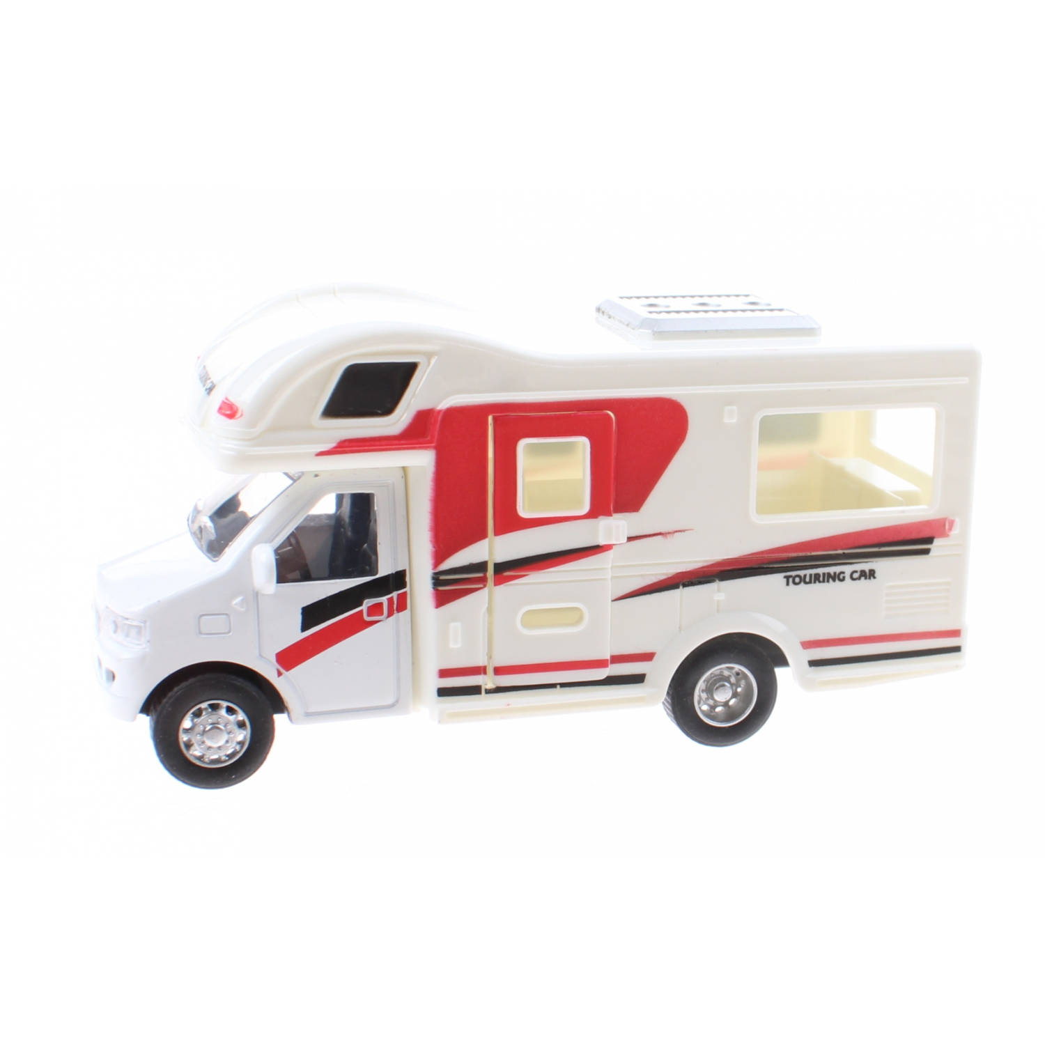 Jonotoys Touring Car camper 12,5 cm diecast wit/rood