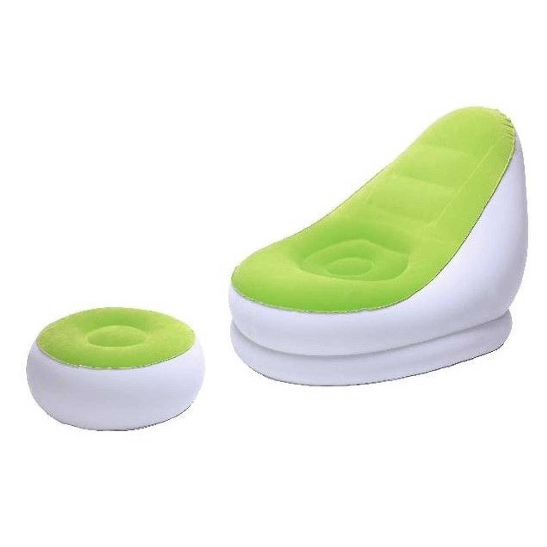 Bestway opblaasbare loungestoel en poef Comfort Cruiser groen