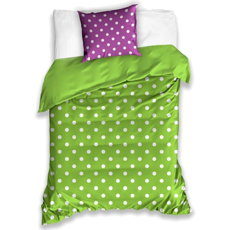 Carbotex dekbedovertrek polkadotpatroon paars/groen 140 x 200 cm