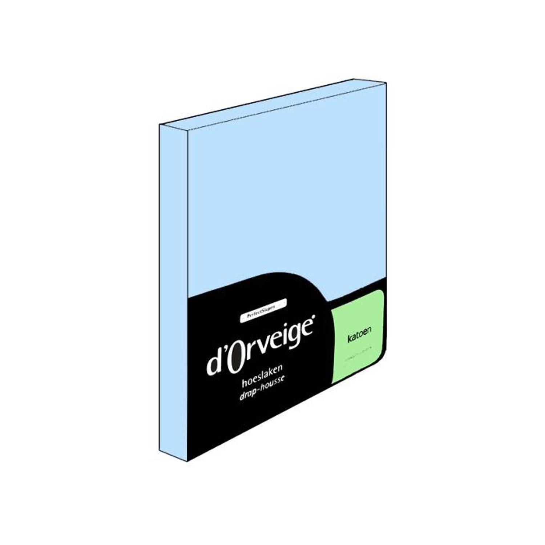 D'Orveige hoeslaken Katoen - 80x200 - Licht blauw