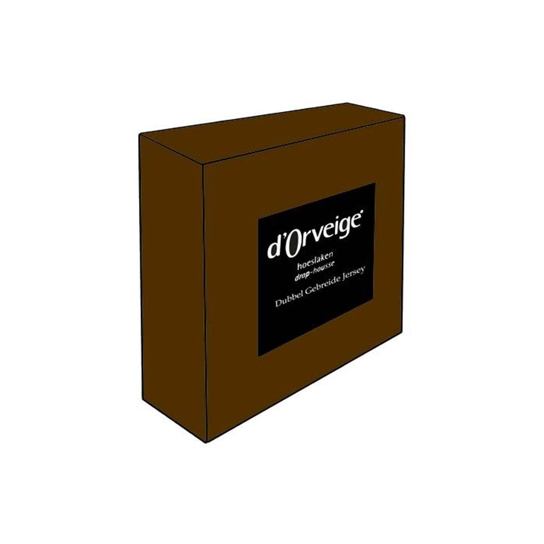 D'Orveige hoeslakens Dubbel Jersey - 140x200 - Bruin