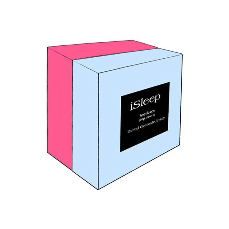 iSleep hoeslakens Dubbel Jersey Combed Yarn - 200/210x220/230 - Roze
