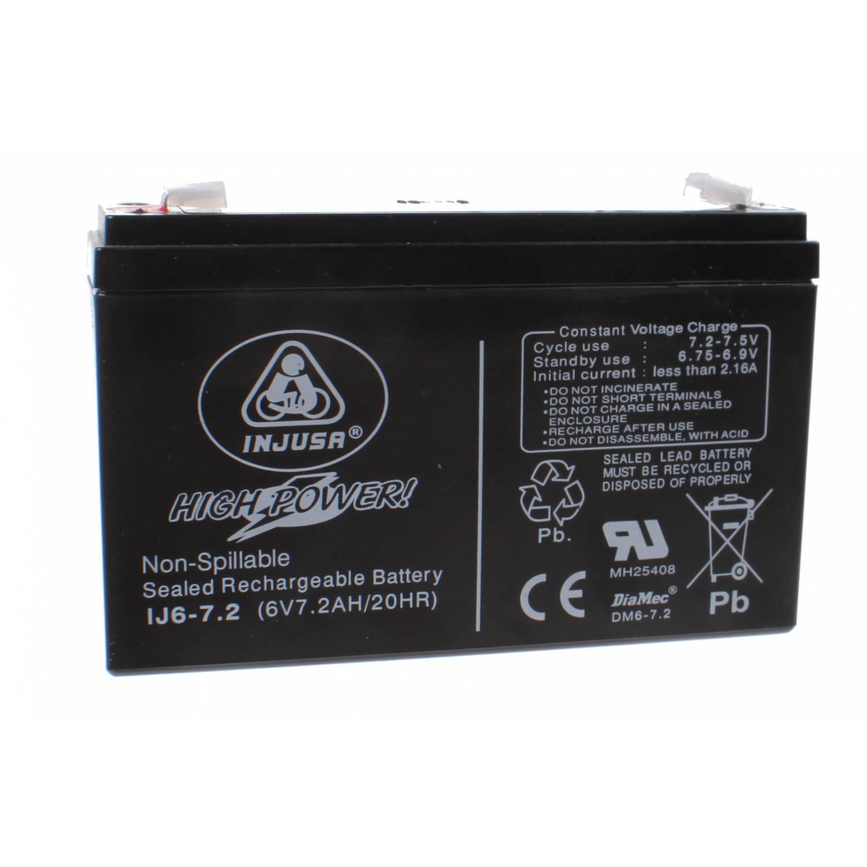Injusa oplaadbare batterij High Power 6V-7,2 AH zwart