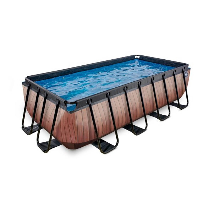 Exit zwembad wood 400x200cm met filterpomp bruin blokker for Zwembad rechthoekig met pomp