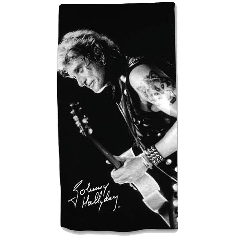 Afbeelding van Aymax badlaken Johnny Hallyday 75 x 150 cm zwart/grijs