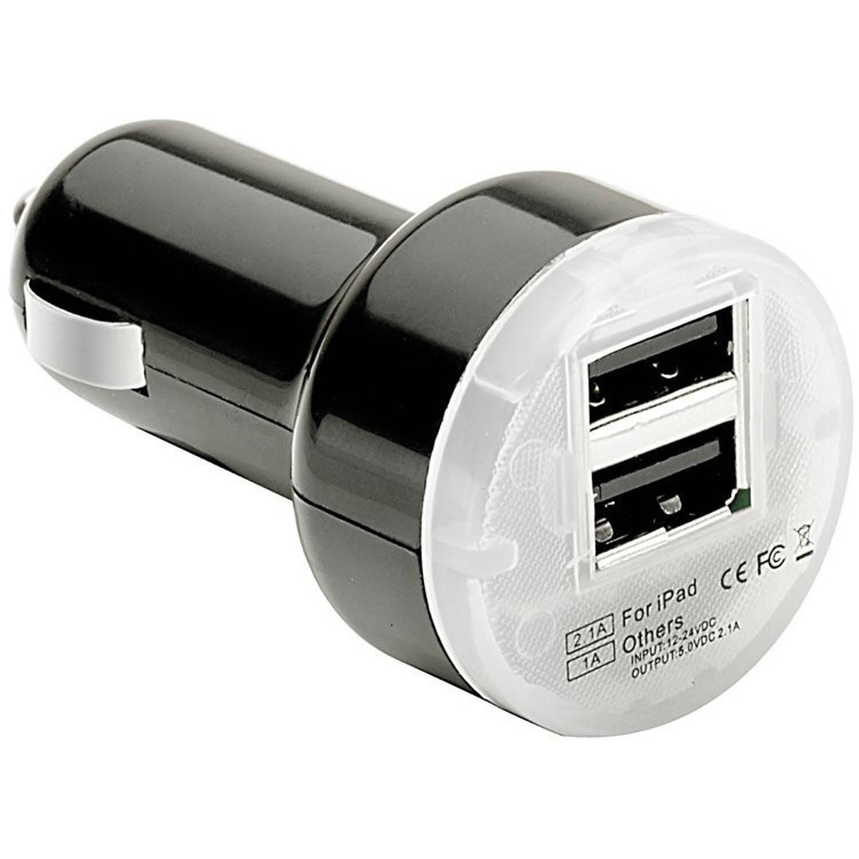 Pulse autolader USB dubbel 12/24 Volt 2,1A zwart