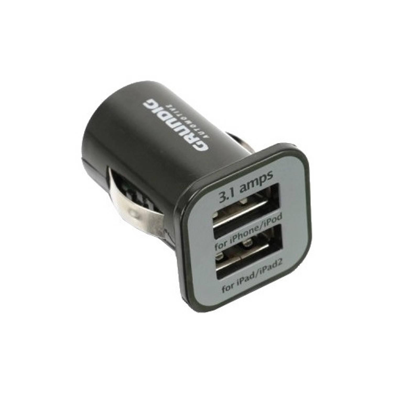 Grundig autolader USB dubbel 12/24 Volt 3,1A zwart