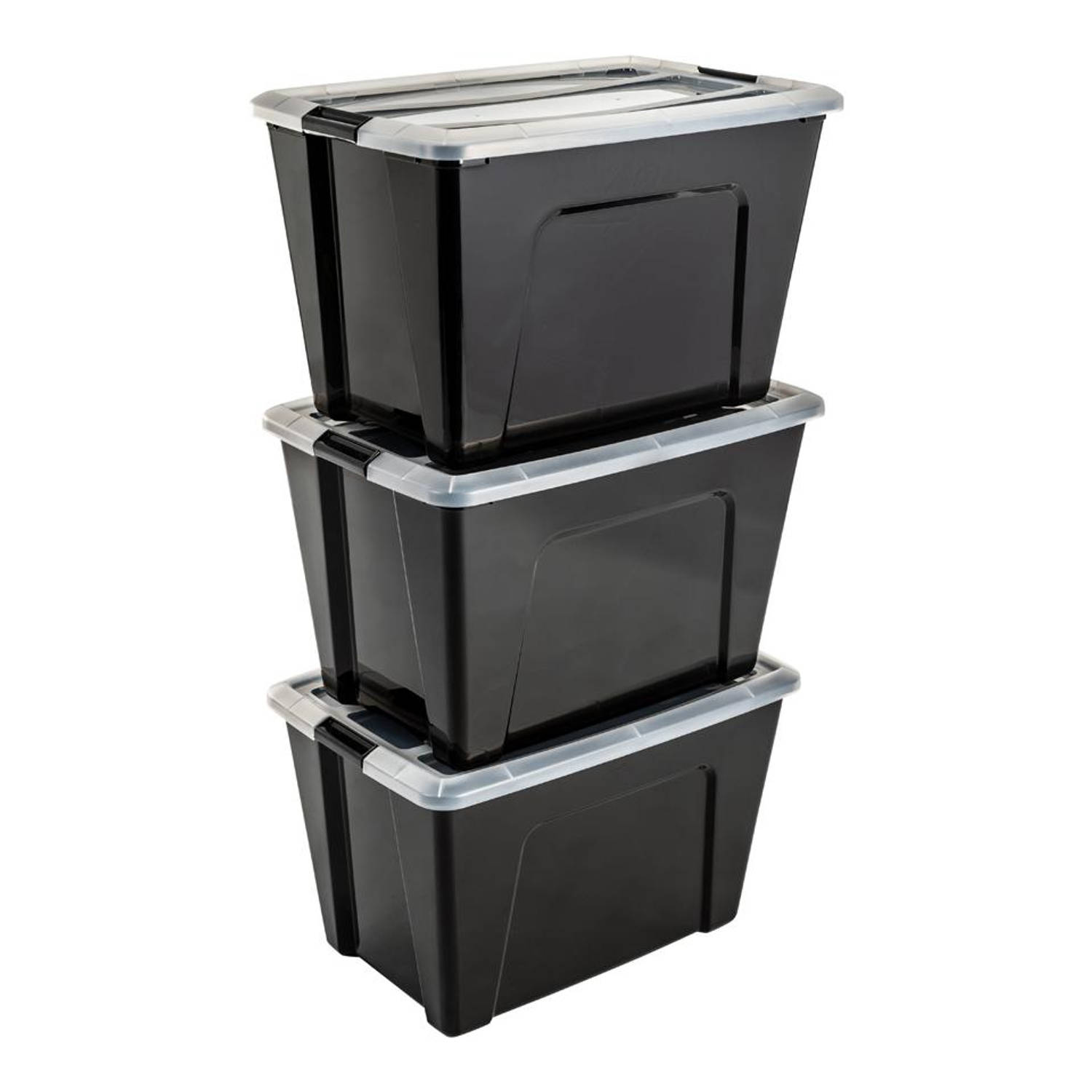 Iris Top Box opbergbox - 60 liter - transparant - set van 3