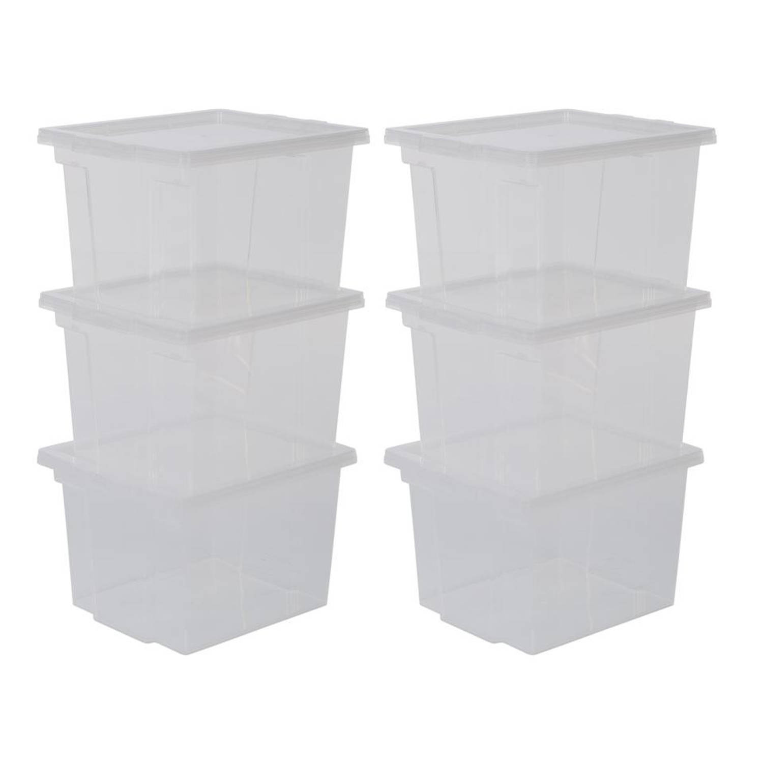 Iris Storage Box opbergbox - 10 liter - transparant - set van 6