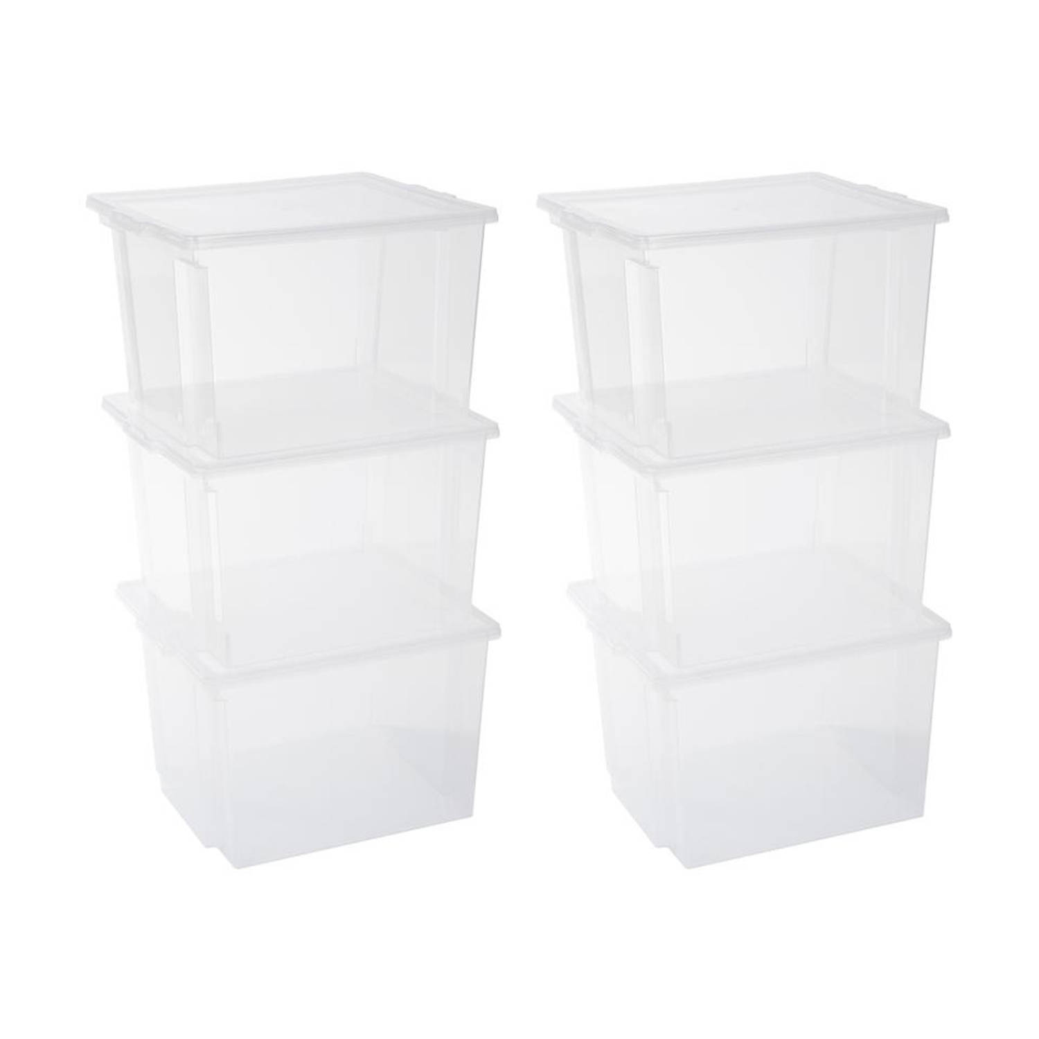 Iris Storage Box opbergbox - 30 liter - transparant - set van 6