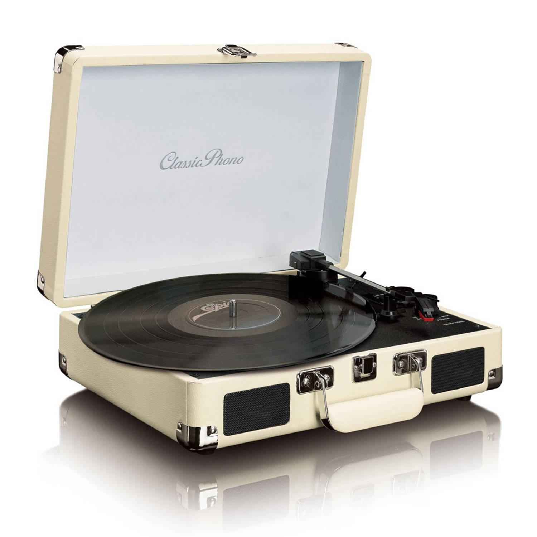 Classic Phono TT-11WH Retro Platenspeler Creme