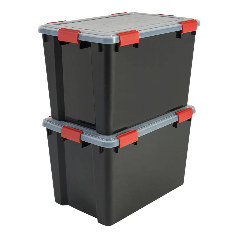 Iris Air Tight Box opbergbox - 70 liter - transparant - set van 2