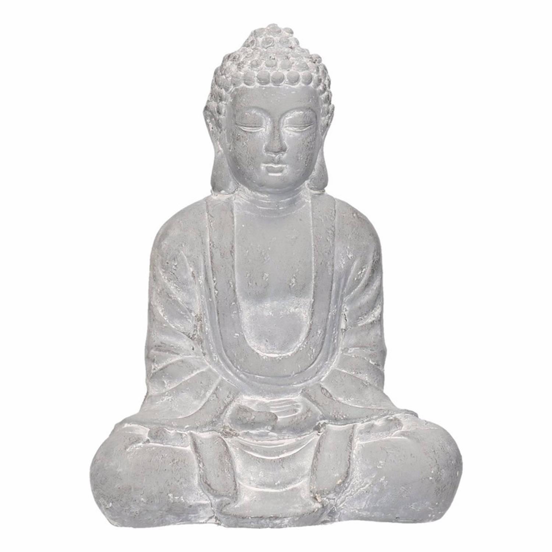 Boeddha beeld blauw/grijs 35 cm